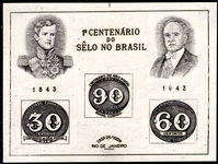 Brazil 1943 Stamp Centenary souvenir sheet mounted mint (no gum as issued).