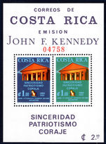 Costa Rica 1965 JF Kennedy perf souvenir sheet unmounted mint.