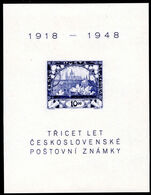 Czechoslovakia 1948 Stamp Anniverary souvenir sheet lightly mounted mint.