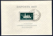 Danzig 1937 Philatelic Exhibition DAPOSTA postage souvenir sheet CTO very fine used.