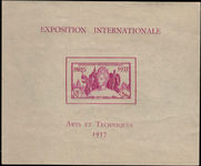 French Indian settlements 1937 International Exhibition souvenir sheet unmounted mint.