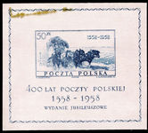 Poland 1958 Polish Postal Services souvenir sheet (grease stain in margin) unmounted mint.