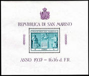San Marino 1937 Independence Monument souvenir sheet mounted mint.