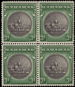 Bahamas 1931-44 3s slate-purple and myrtle-green block of 4 unmounted mint.