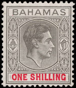 Bahamas 1938-52 1s grey-black and scarlet, chalky paper lightly mounted mint.