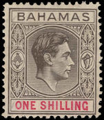 Bahamas 1938-52 1s pale brownish-grey and crimsom, chalky paper lightly mounted mint.