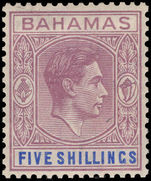 Bahamas 1938-52 5s lilac and blue, chalky paper, usual toned gum lightly mounted mint.