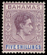 Bahamas 1938-52 5s purple and blue, ordinary paper lightly mounted mint.
