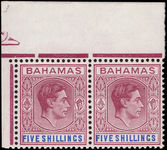 Bahamas 1938-52 5s red-purple and deep bright blue chalky paper, corner marginal pair unmounted mint.