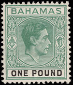 Bahamas 1938-52 £1 blue-green and black, ordinary paper lightly mounted mint.