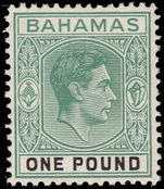 Bahamas 1938-52 £1 grey-green and black, ordinary paper lightly mounted mint.