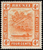 Brunei 1924-37 4c orange lightly mounted mint.