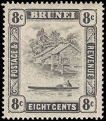 Brunei 1924-37 8c grey-black lightly mounted mint.