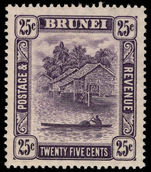 Brunei 1924-37 25c slate-purple lightly mounted mint.