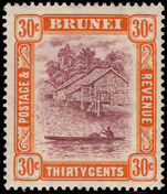 Brunei 1924-37 30c purple and orange-yellow lightly mounted mint.