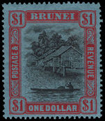 Brunei 1924-37 $1 black and red on blue lightly mounted mint.