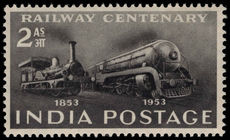 India 1953 Railway Centenary lightly mounted mint.