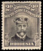 Rhodesia 1922-24 2d black and slate purple die III perf 15 lightly mounted mint.