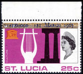St Lucia 1965 UNESCO 25c Associated Statehood overprint in blue unmounted mint.