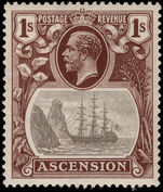 Ascension 1924-33 1s grey-black and brown lightly mounted mint.