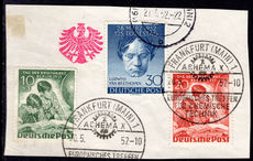 Berlin 1951 Stamp Day and 1952 Beethoven fine used on piece.