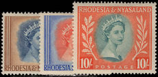 Rhodesia & Nyasaland 1954-56 1s3 2s and 10s unused. Faults.