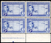 Cayman Islands 1938-48 3d blue imprint block of 4 unmounted mint.