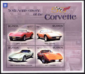Uganda 2003 50th Anniversary of the Corvette souvenir sheet unmounted mint.
