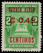 Costa Rica 1962 45c on 2c unmounted mint.