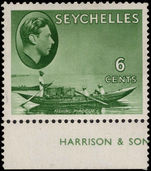 Seychelles 1938-49 6c grey-green Fishing Pirogue chalky paper lightly mounted mint.