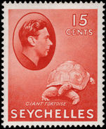 Seychelles 1938-49 15c brown-red tortoise ordinary paper lightly mounted mint.