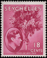 Seychelles 1938-49 18c carmine-lake chalky paper lightly mounted mint.