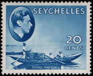 Seychelles 1938-49 20c blue fishing pirogue unmounted mint.