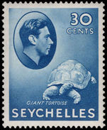 Seychelles 1938-49 30c blue tortoise chalky paper lightly mounted mint.