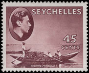 Seychelles 1938-49 45c chocolate fishing pirogue chalky paper lightly mounted mint.