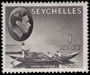 Seychelles 1938-49 1r grey-black fishing pirogue ordinary paper unmounted mint.