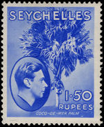 Seychelles 1938-49 1r50 ultramarine chalky paper lightly mounted mint.