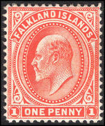 Falkland Islands 1904-12 1d vermillion lightly mounted mint.