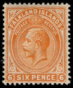 Falkland Islands 1912-20 6d yellow-orange lightly mounted mint.