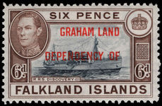 Graham Land 1944-45 6d blue-black and brown (tiny thin) lightly mounted mint.