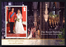 South Georgia 2011 Royal Wedding souvenir sheet unmounted mint.