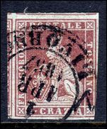 Tuscany 1851 1 crazie claret/grey fine used no thins