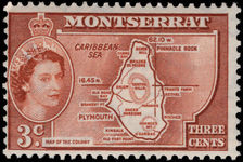Montserrat 1953-62 3c Colony unmounted mint.