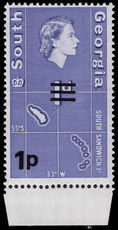 South Georgia 1971-76 1p sideways watermark unmounted mint.
