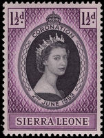 Sierra Leone 1953 Coronation lightly mounted mint.