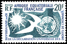 French Equatorial Africa 1958 Human Rights fine lightly mounted mint.