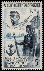 French West Africa 1957 African Troops lightly mounted mint.