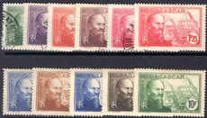 Madagascar 1938-40 Jean Laborde set mixed fine used and lightly hinged.