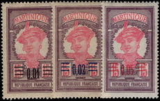 Martinique 1922 provisionals fine lightly mounted mint.