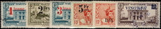 Martinique 1945 provisionals mixed fine used and lightly mounted mint.